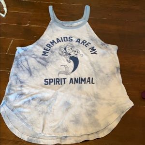 Gray/ Blue Tie Dye Little Mermaid Tank Top